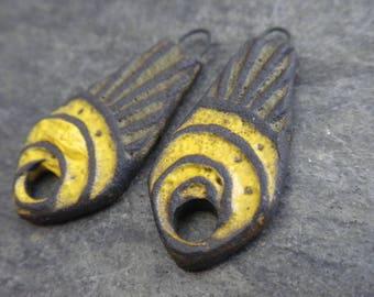 Rays- handmade artisan rustic tribal ceramic earring bead pair yellow green 4203