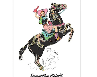 Personalized Cowgirl and Horse Folded Card Set