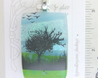 Spring Fever Pendant, Fused Glass Jewelry Handmade in North Carolina