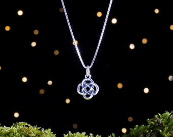Sterling Silver 3D Celtic Love Knot - Small, Double Sided - (Charm Only or Necklace)