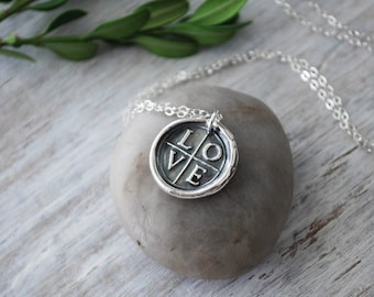 Wax Seal  LOVE Cross Necklace -  Sterling Silver Chain -  Silver Love Cross Wax Seal Pendant - Handcrafted Artisan Jewelry