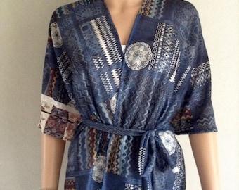 Kimono 38/40/42/44/46/48/50 cotton Jersey printed Denim ethnic lace