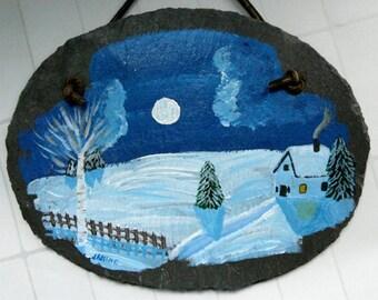 Slate Sign - handpainted slate, winter cabin, garden art decor, outdoor decor, wall hanging, gardener gift, yard art, door decor