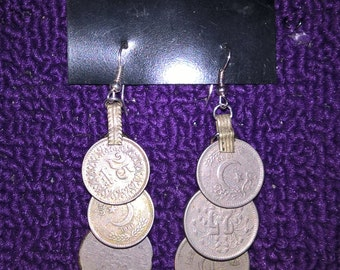 kuchi coin earrings 3 tier