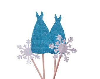 24 Glitter Elsa Dress and Snowflakes Cupcake Toppers - Frozen Party Decorations - No816