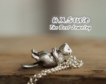 Handmade 3D Silver Beaver Pendant, Silver Lovely Beaver Pendant, Anniversary, Birthday, Christmas, Gift,  Wholesale Available
