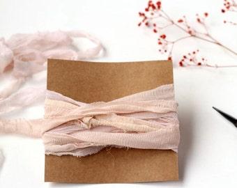 Blush Silk Ribbon, Silk Ribbon, Recycled Silk Ribbon, Sari Silk Ribbon, Hand Dyed Ribbon, Pink Silk Ribbon, HandDyed Silk Ribbon, Silk