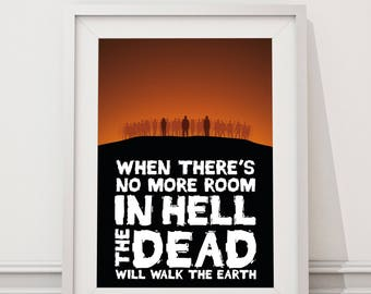Dawn of the Dead Quote - No More Room in Hell Minimal Style Movie Poster Print Romero