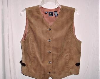 Vintage 80s Brown Wide Wale Corduroy Ladies Vest 14 Side Buckle