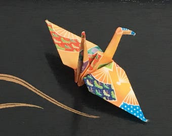Origami Paper Cranes-10 Japanese Chiyogami Paper Cranes with Japanese Fan Kimono Patterns