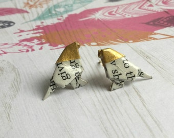Gold Headed Literary Origami Bird Post Earrings