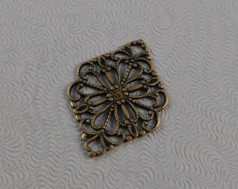 LuxeOrnaments Small Oxidized Brass Filigree Floral Connector  (2pcs) G-07146-B