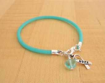 Teal Awareness Bracelet  - (Rubber) PTSD, Myasthenia Gravis, Ovarian Cancer, Scleroderma, Tourette Syndrome, Interstitial Cystitis  & More