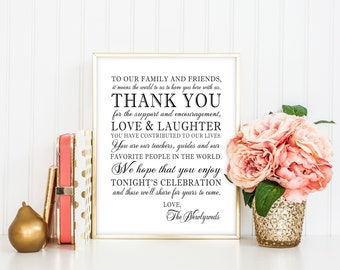 PRINTABLE - Thank You Family Friends Wedding Reception Sign for Family and Friends from Newlyweds Mr. & Mrs. Bride Groom Bridal Shower DIY