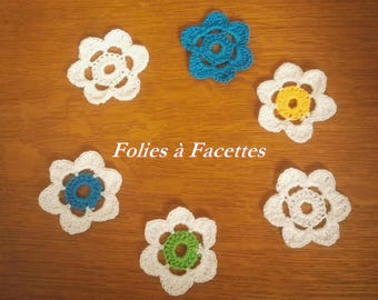 Yellow Gold flowers turquoise green and white crochet cotton