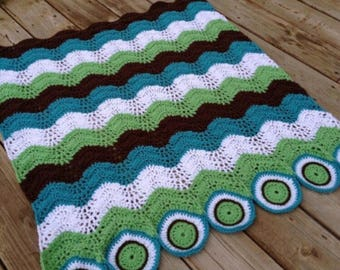 PDF Crochet Pattern - The Circle & Waves Blanket