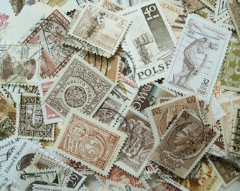 40 Brown Postage Stamps, Sepia Stamps, Used Postage Stamps, Vintage Stamps, Craft postage stamps, world wide