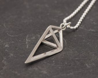 Sterling Silver Pendant- Sterling Silver Necklace- Silver Pyramid Necklace- Geometric Silver Triangle Pendant