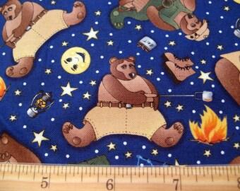 Fat Quarter va pêche Camping «Goin pêche» ours feu de Camp Moon Stars - tissu fantaisie - possibilités par Avlyn, Inc. - Poo