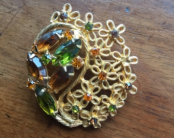 Vintage Large Rhinestone Reticulated Pin