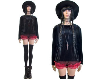 minimalist shirt velvet shirt goth shirt grunge shirt velvet top velvet tunic witch shirt black velvet shirt vintage 90s shirt slouchy shirt