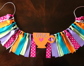 Tea Party High Chair Birthday Banner