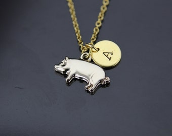 Pig pendant etsy gold pig charm necklace pig pendant pig necklace pig charm necklace personalized necklace initial necklace customized mozeypictures Gallery