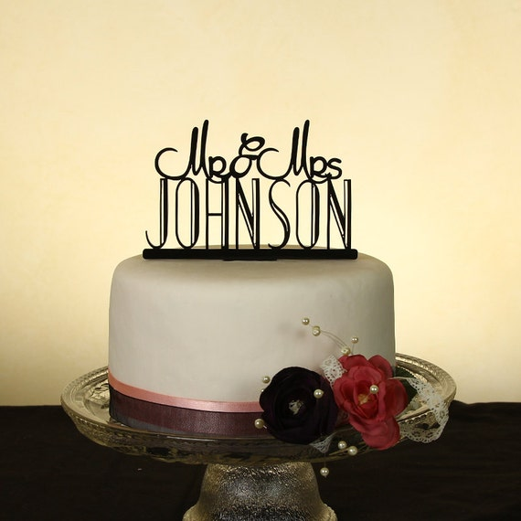 Wedding cake topper personalized in your last name