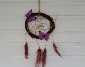 Rustic butterfly dreamcatcher, purple butterflies