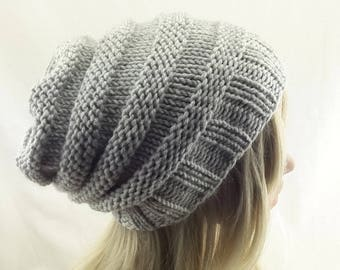 Winter hat ,slouchy beanie, oversized beanie in light gray color  ,Stripped Slouchy Hat