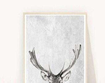 Deer Print, Deer Art, Antlers Print, Instant Download, Deer Antlers, Printable Art, Wall Decor,  Abstract Deer Print