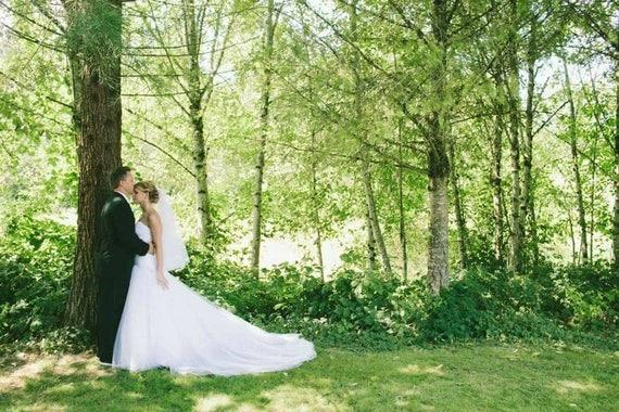 White Wedding Veil, Bridal Hip Veil, One Layer Plain Viel, Wedding Vail, Bridal Attire, Bridal Accessory, Bridal Accessories, Plain Veil