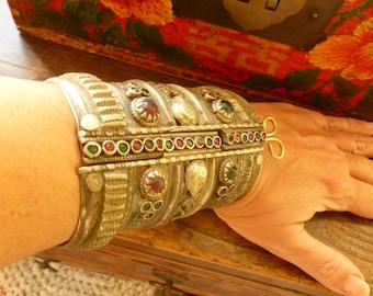 Vintage Tribal Kuchi Cuff Bracelet. Tribal Turkmen Cuff . Stunning Tribal Jewelry. Boho hippie Bracelet.  Vintage Ethnic Bracelet