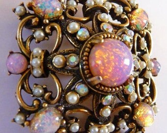 Hollycraft Renaissance Revival brooch pin | faux opal pearl | gold tone | AB rhinestone | designer signed vintage