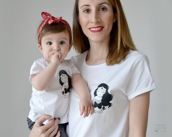MOM and DAUGHTER matching shirts, short sleeve t-shirt for women, baby girl t-shirt, white t-shirt, mom gift, matching outfit