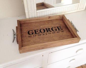 Wedding Name and Coordinates Wooden Tray - personalized wedding gift, nautical tray, nautical wedding decor