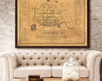 "Charleston map 1788, Old map of Charleston SC, 4 sizes up to 48x36"" Charleston Wedding, also in white, or blue - Limited Edition of 100"