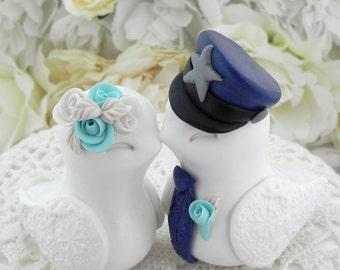 Police Wedding Cake Topper, Love Birds, White, Robin Egg Blue and Navy Blue - Bride and Groom Keepsake