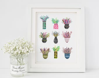 Beautiful botanical, repeated vibrant shades floral ethnic patterned pots Fine Art Print