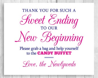Sweet Ending to Our New Beginning 5x7, 8x10 Printable Hot Pink and Navy Blue Wedding Candy Buffet Sign - Instant Digital Download