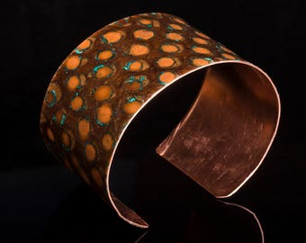 Copper bangle / cuff with dragonscale patterned patina wider version