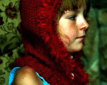 Childrens' red hat with buttoned neck warmer.