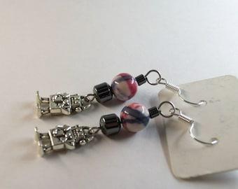 Hematite and silk Jasper with Robot charm earrings