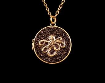 Black & Brass Octopus Locket Necklace