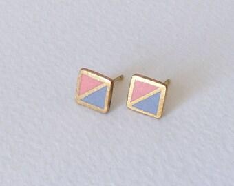 Square stud porcelain earrings- peach, gray, 24k gold- small geometric studs, porcelain earrings, minimalist studs, porcelain jewelry