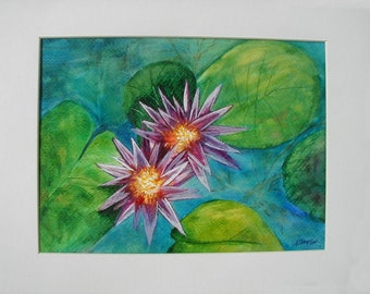 Purple Pond Lilly, Original Watercolor Painting,12 x 16 ready to frame, colorful, handmade, peaceful, landscape,
