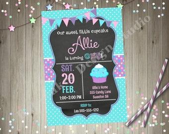 cupcake Birthday party invitation invite 1st birthday cupcake party printable aqua pink purple