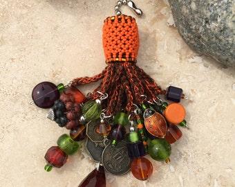 Light Fan Ball Chain Pull - Beaded Tassel - Asian Oktoberfest