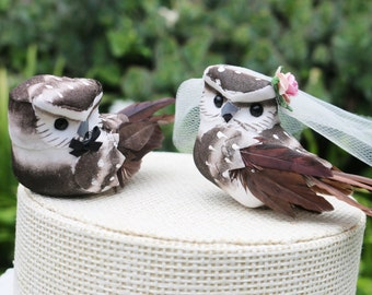 Owl Cake Wedding Topper in Cocoa Brown: Bride & Groom Love Bird Cake Topper
