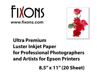 Ultra premium luster inkjet paper for professional photographers and artists for Epson printers 8.5 in x 11 in (20 Sheet)